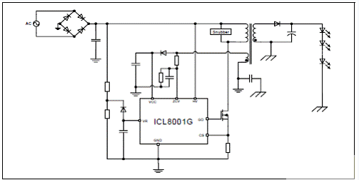 icl8001g初级边控制的应用电路图 评估板eval-led-icl8001g-bulb02